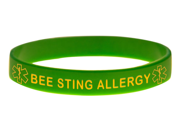Green Bee Sting Allergy Wristband With Medical Alert Symbol