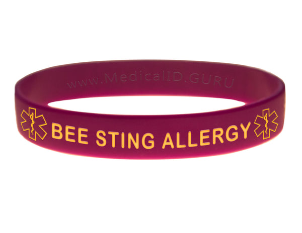 Purple Bee Sting Allergy Wristband With Medical Alert Symbol