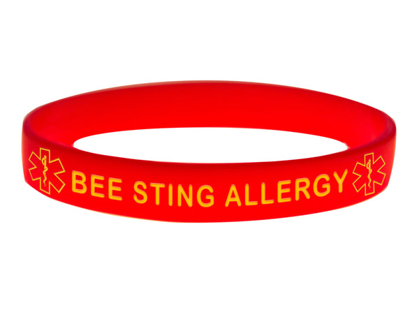 Red Bee Sting Allergy Wristband With Medical Alert Symbol