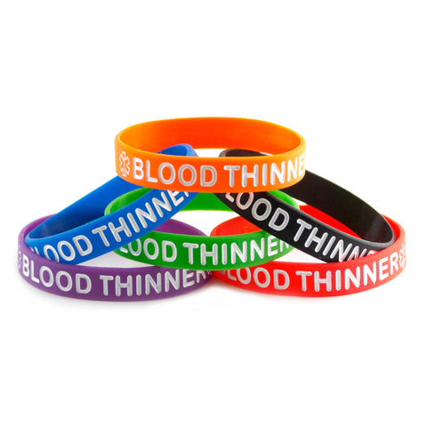 Black Blue Green Orange Purple Red Combo Pack Blood Thinner Bracelet Wristbands With Medical Alert Symgbol