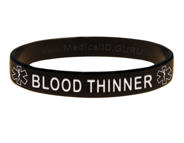 Black Blood Thinner Wristband With Medical Alert Symbol