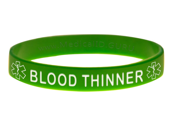 Green Blood Thinner Wristband With Medical Alert Symbol