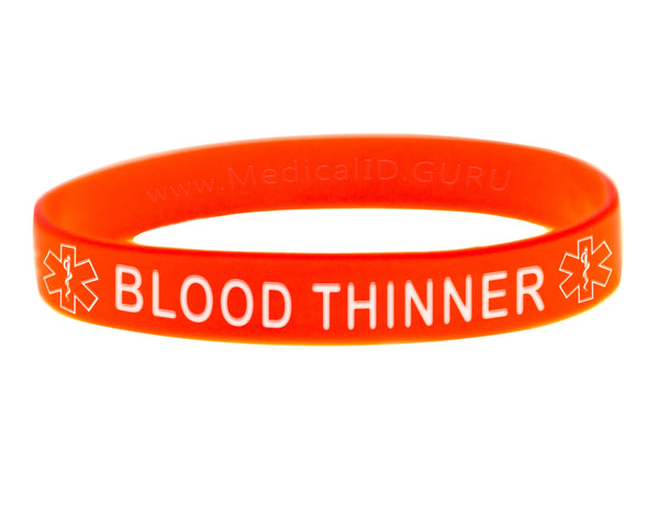 Orange Blood Thinner Wristband With Medical Alert Symbol