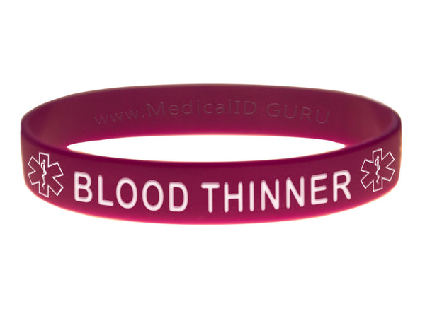 Purple Blood Thinner Wristband With Medical Alert Symbol