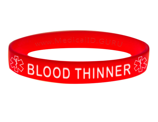 Red Blood Thinner Wristband With Medical Alert Symbol