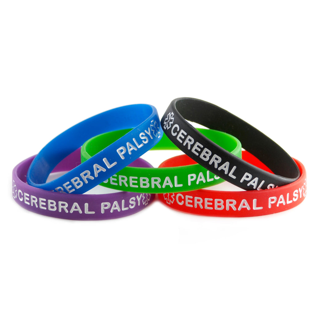 Black Blue Green Purple Red Combo Pack Cerebral Palsy Bracelet Wristbands With Medical Alert Symbol