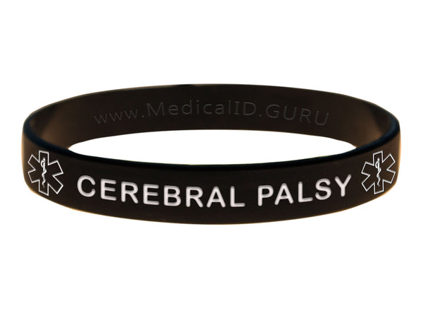 Black Cerebral Palsy Wristband With Medical Alert Symbol