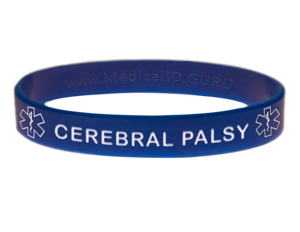 Blue Cerebral Palsy Wristband With Medical Alert Symbol
