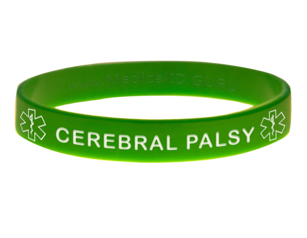 Green Cerebral Palsy Wristband With Medical Alert Symbol