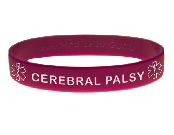 Purple Cerebral Palsy Wristband With Medical Alert Symbol