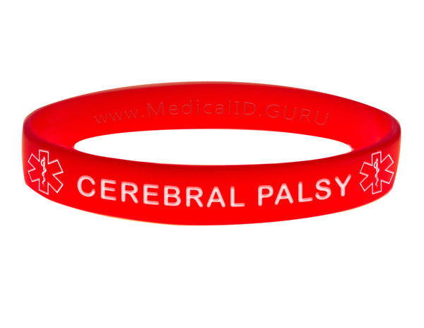 Red Cerebral Palsy Wristband With Medical Alert Symbol