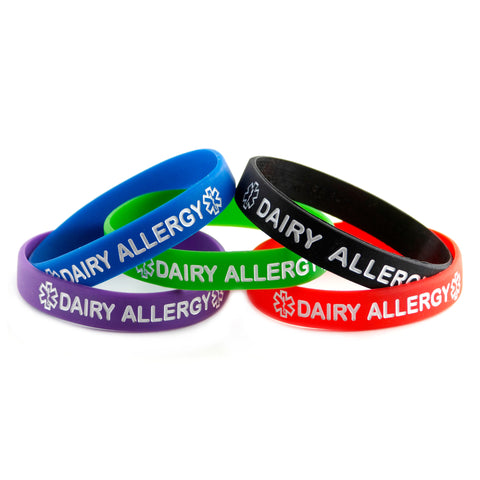 Black Blue Green Purple Red Dairy Allergy Bracelet Wristbands With Medical Alert Symbol