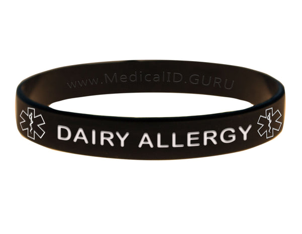 Black Dairy Allergy Wristband With Medical Alert Symbol