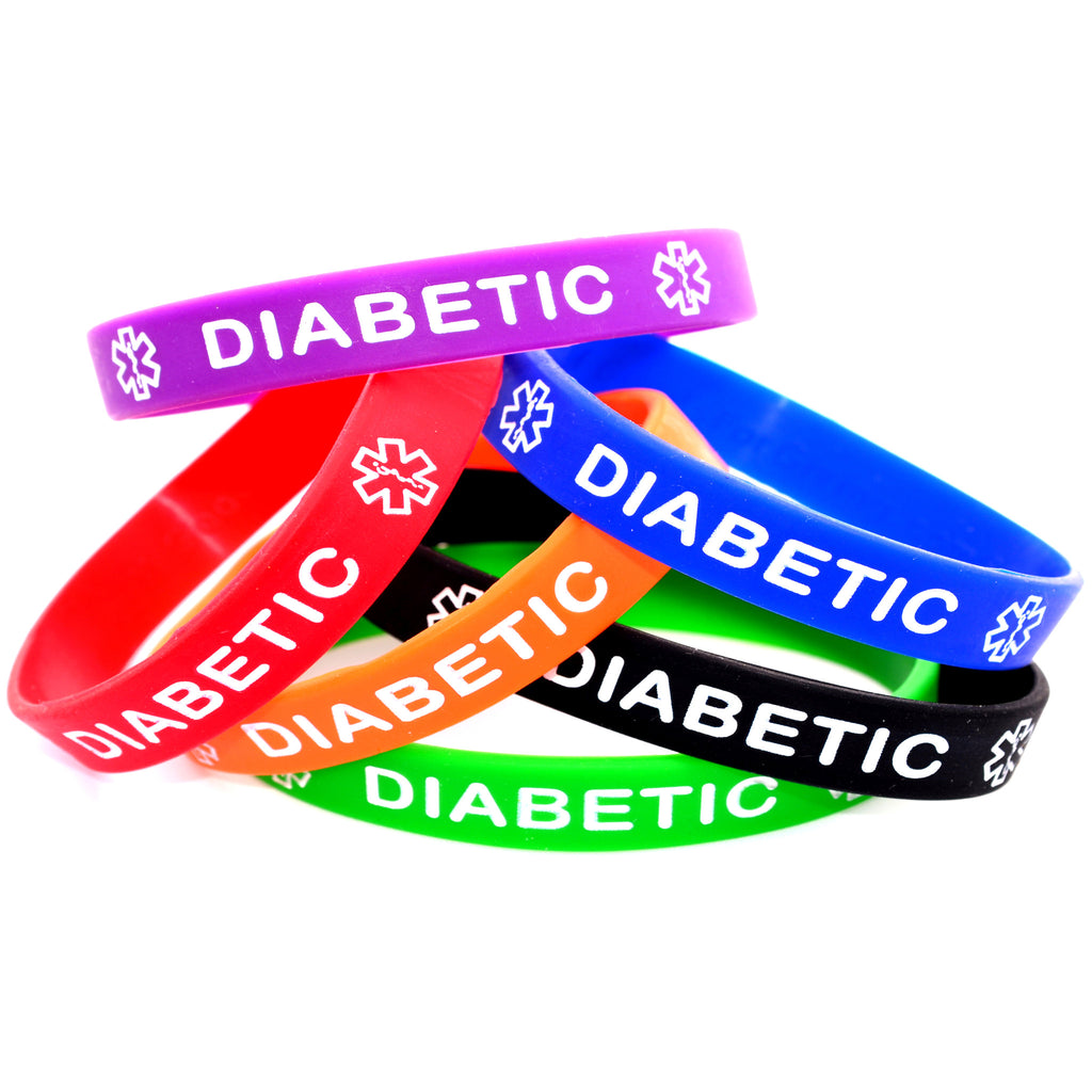 Black Blue Green Orange Purple Red Combo Pack Diabetic Bracelet Wristbands with Medical Alert Symbol
