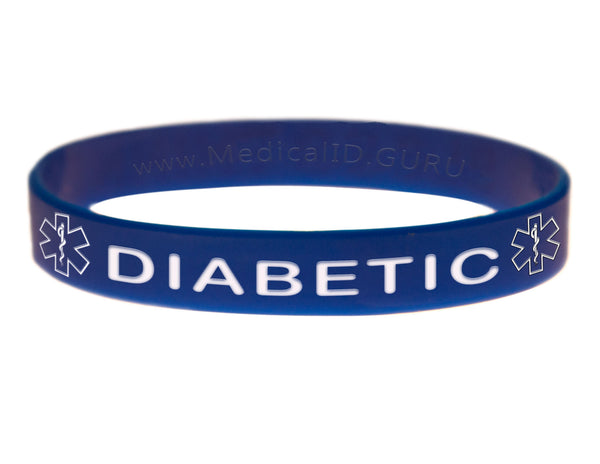 Blue Diabetic Wristband With Medical Alert Symbol