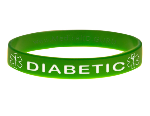 Green Diabetic Wristband With Medical Alert Symbol