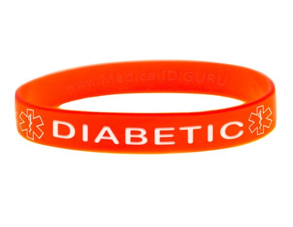 Orange Diabetic Wristband With Medical Alert Symbol
