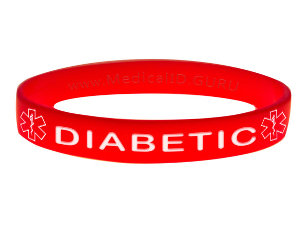 Red Diabetic Wristband With Medical Alert Symbol