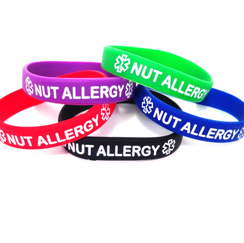Black Blue Green Purple Red Combo Pack Nut Allergy Bracelet Wristbands With Medical Alert Symbol