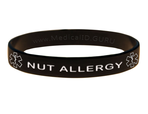 Black Nut Allergy Wristband With Medical Alert Symbol