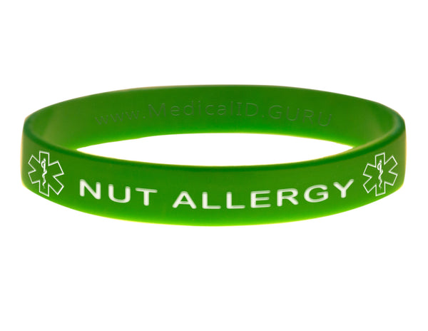 Green Nut Allergy Wristband With Medical Alert Symbol