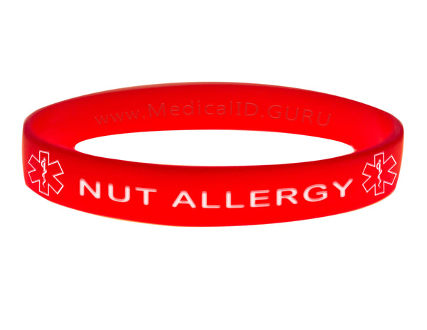 Red Nut Allergy Wristband With Medical Alert Symbol