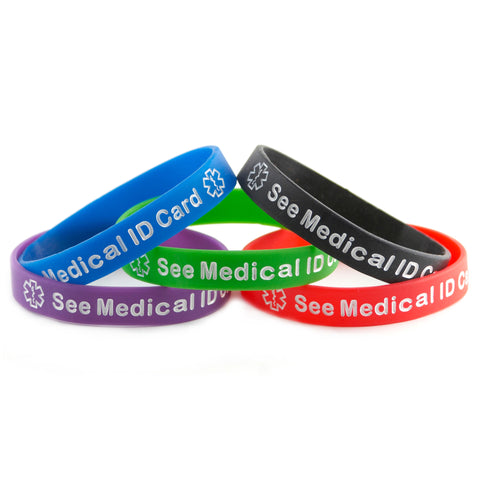 Black Blue Green Purple Red Combo Pack See Medical ID Card Bracelet Wristbands With Medical Alert Symbol