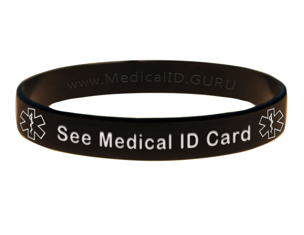 Black See Medical ID Card Wristband With Medical Alert Symbol