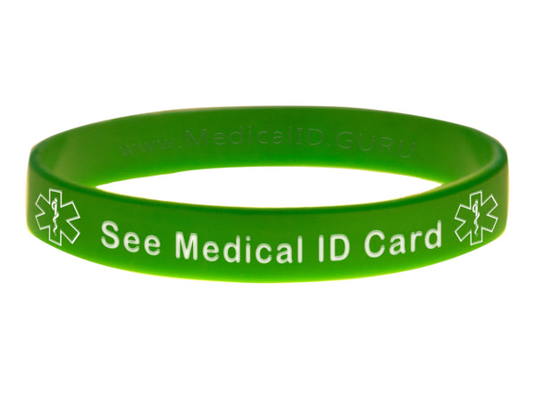 Green See Medical ID Card Wristband With Medical Alert Symbol