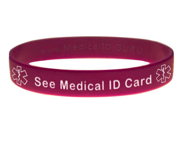 Purple See Medical ID Card Wristband With Medical Alert Symbol