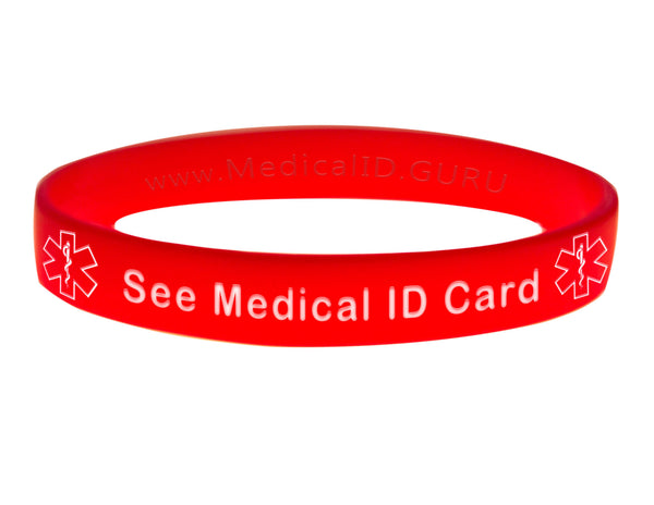 Red See Medical ID Card Wristband With Medical Alert Symbol