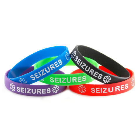 Black Blue Green Purple Red Combo Pack Seizure Bracelet Wristbands With Medical Alert Symbol