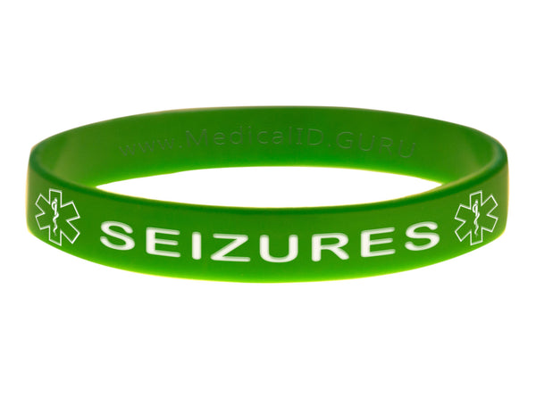 Green Seizures Wristband With Medical Alert Symbol