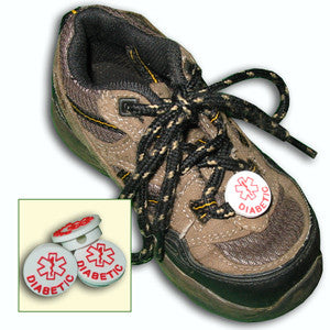 Shoe With White Medical Diabetic Tag On Shoe Laces