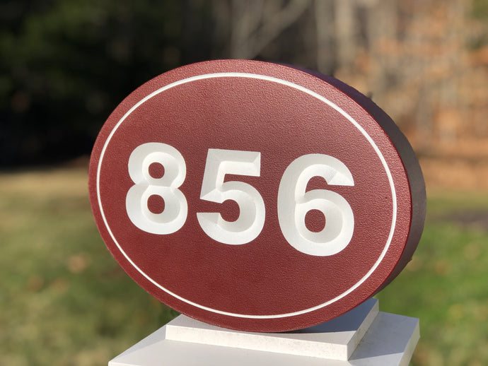 Carved House Address Sign - Oval