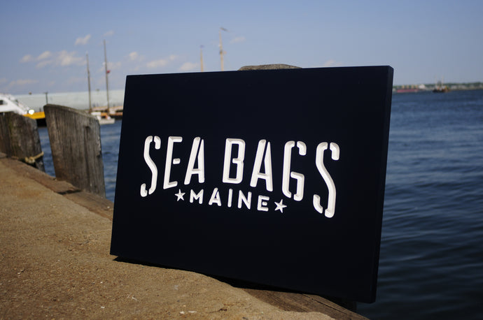 Carved Cedar Sign Sea Bags Boothbay ME