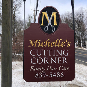 Custom Carved Sign - Salon Sign