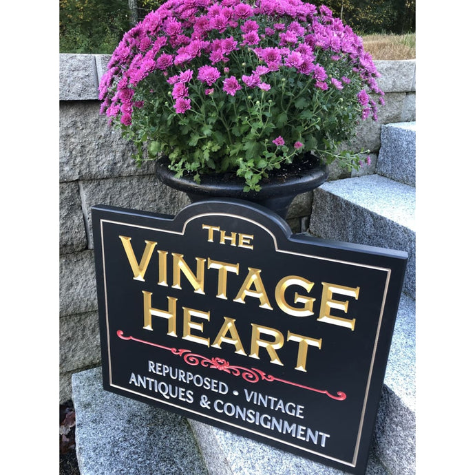 Carved Dimensional Sign Vintage Heart Main St Gorham Me