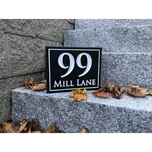 Carved House Address Sign - Rectangle W/street Name - Sign