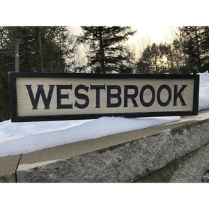 Westbrook Maine Vintage Distressed Sign - Vintage Sign