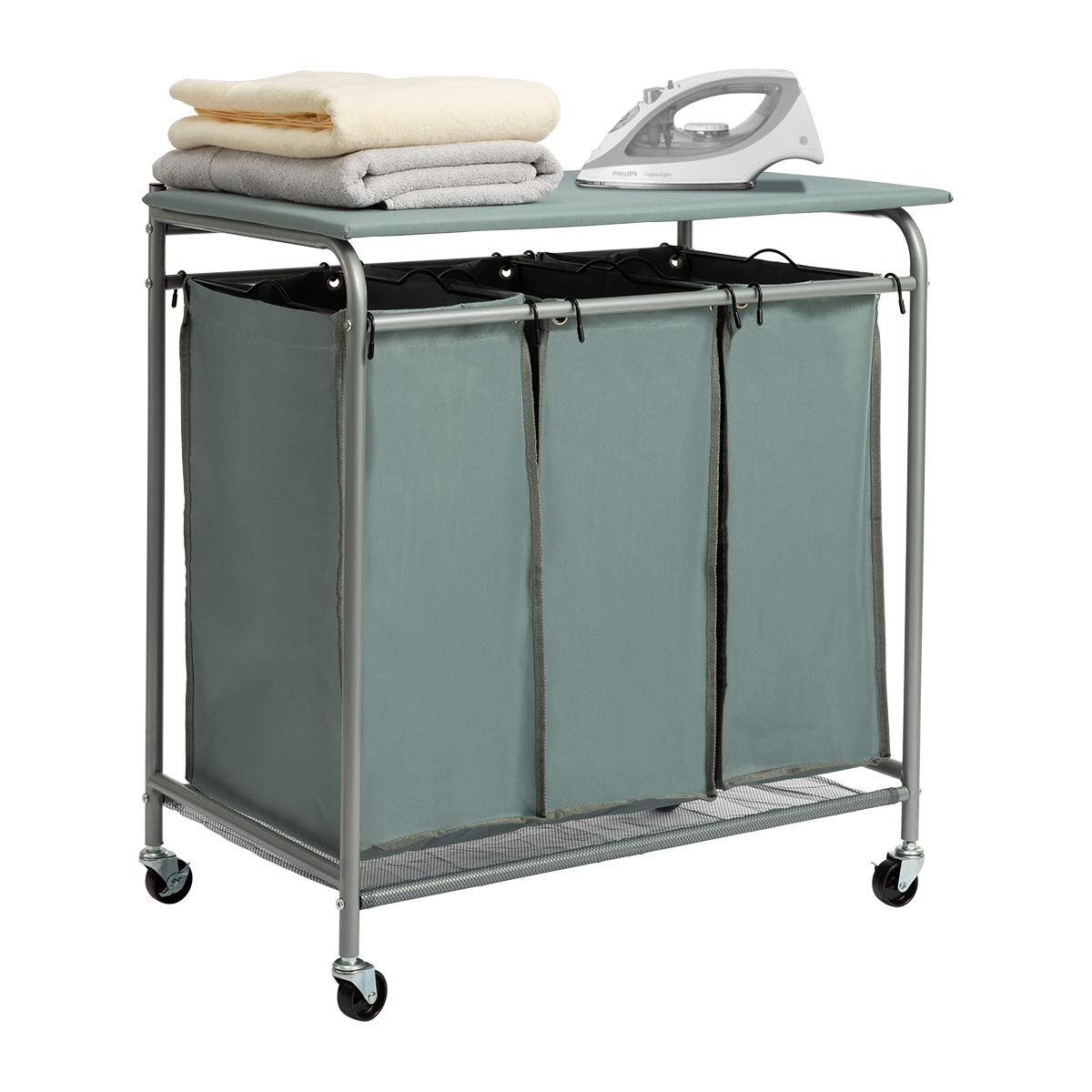 HollyHOME Laundry Sorter Cart with Foldable Ironing Board with Removable 3 Bags Laundry Hamper Sorter Blue Grey - HollyHOME