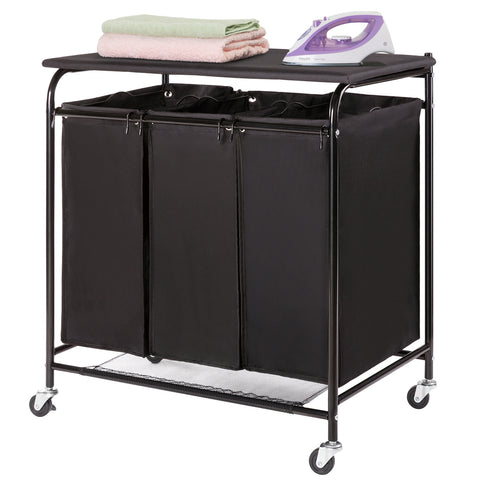 HollyHOME Laundry Sorter Cart with Foldable Ironing Board with Removable 3 Bags Laundry Hamper Sorter Black - HollyHOME
