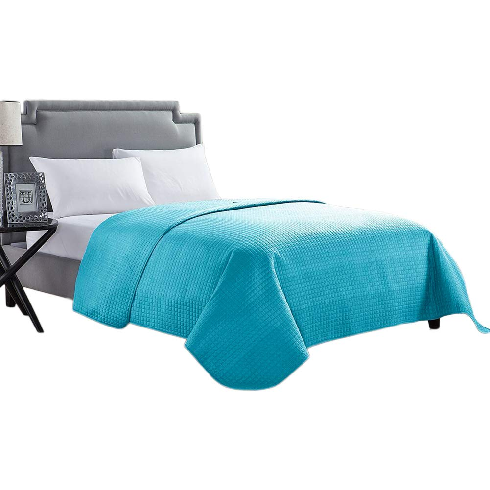 HollyHOME Luxury Checkered Super Soft Quilt Bedspread Bed Cover, Teal - HollyHOME