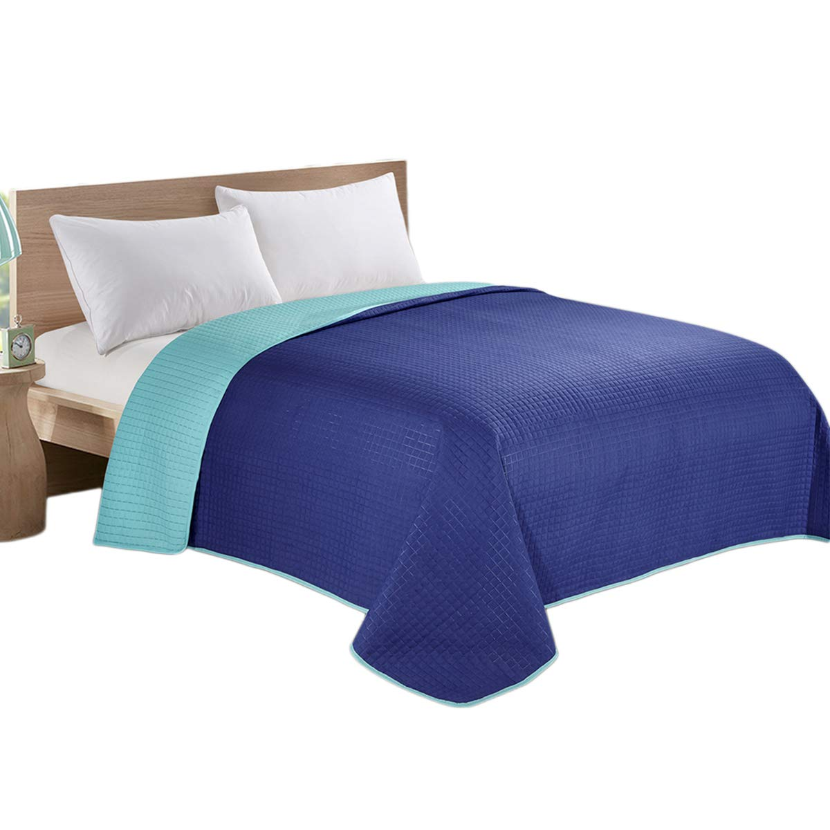 HollyHOME Reversible Super Soft Solid Single Quilted Bed Quilt Bedspread Comforter Bed Cover, Blue and Teal, King - HollyHOME