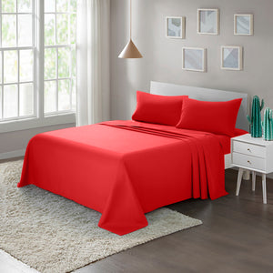 Brushed Microfiber Bed Sheet Set1800 Bedding Red - ARTALL