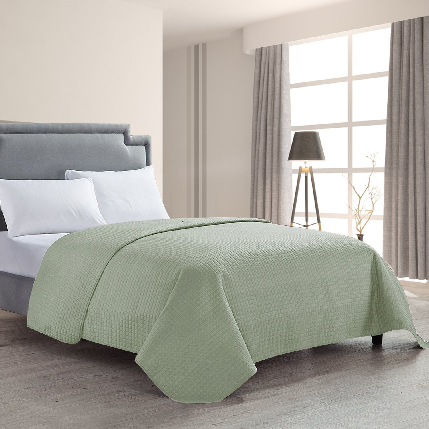 HollyHOME Luxury Checkered Super Soft Quilt Bedspread Bed Cover, Sage - HollyHOME