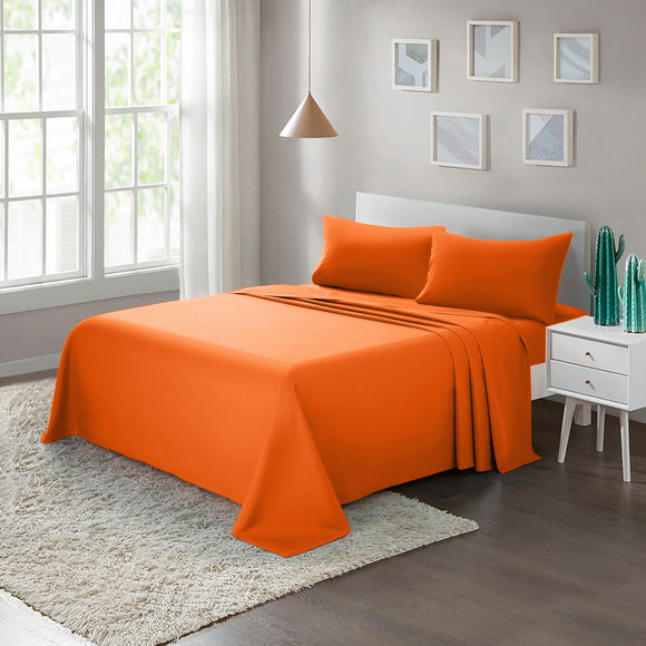 Brushed Microfiber Bed Sheet Set1800 Bedding Orange - ARTALL