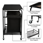 Load image into Gallery viewer, HollyHOME Laundry Sorter Cart  with Unopenable Ironing Board with Side pull 3-Bag Heavy-Duty Laundry Hamper and 4 Wheels Black - HollyHOME