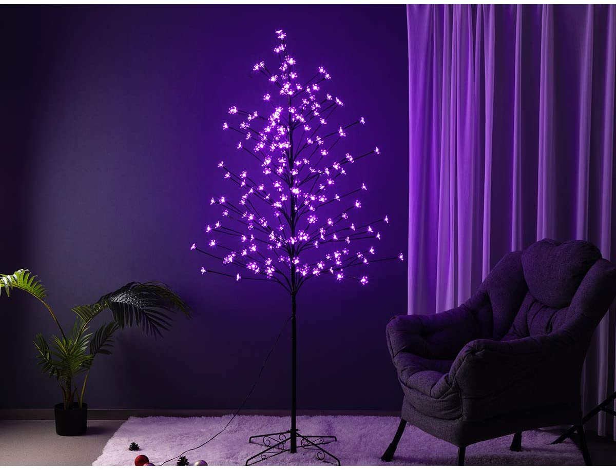 208 LED Cherry Blossom Tree Light, 6FT Fantasy Purple Christmas Tree Light for Indoor Outdoor Use, Weddings, Party Decoration