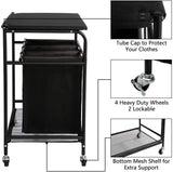 PARANTA Laundry Sorter Cart Heavy Duty 3 Bags Classic Rolling Side Pull Laundry Hamper Sorter with Ironing Board and 4 Wheels Black